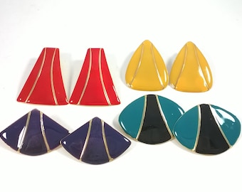 80's Earrings Lot - 4 Four Pairs Colourful Bold Oversized - Vintage Fashion Jewelry 1980s