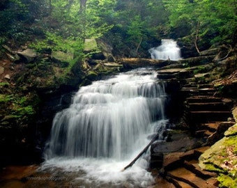 """Earth Day, Waterfall Picture, Nature Photo, Landscape Photography, Woodland, Stream, Forest, Green - 5x7 inch Print -""""Legend"""""""