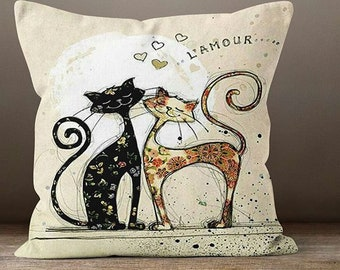Pillow Cover ln love Cats