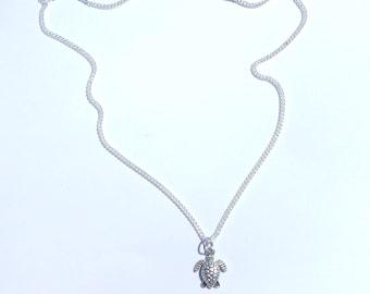 Turtle Necklace, Turtle Choker, Charm Necklace, Charm Choker, Silver Turtle Necklace, Turtle Charm, Turtle Jewelry, Beach Choker, Turtle