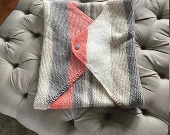 Baby Cot or Pram Blanket; Baby Gift; Baby Boy; Baby Girl: Nursery; Hand Knit