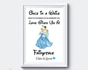 Cinderella & Prince Charming Personalised Wedding Engagement Gift - A4 Print