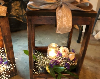Custom Made to Order Wood Laterns. Stained or distressed.  Candles, flowers and bows are not included.