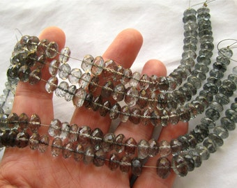 """Gray Mystic Quartz faceted Rondelles, 7"""" inch strand, 8mm beads (8w111)"""