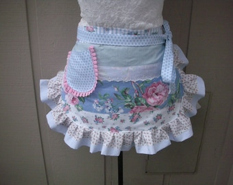 Womens Aprons Pink Rose Aprons Shabby Chic Pink Aprons Blue Flowered Aprons Hostess Gifts Annies Attic Aprons Bridal Shower Gift Blue Aprons