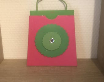 Little box style bag or gift card pouch pink with green flowers