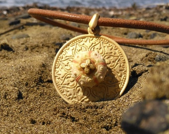 Sputnik Sea Urchin Necklace Leather Gold Plated Jewelry