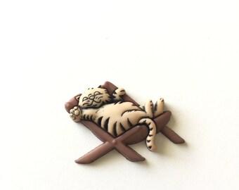 Lounging Kitty Pin, Lounging Kitty Tie Tack, Cat Pin,Cat Tie Tack, Lazy Kitty Pin, Lazy Kitty Tie Tack, Kitty Brooch, Kitty Badge