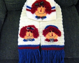 Raggedy Ann and Andy Hat and Scarf Set -Crochet pattern