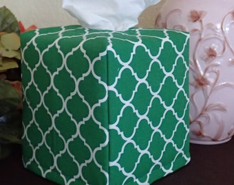 Ready To Ship -  Green and White Quatrefoil Cotton Print-  Fabric Tissue Box Cover