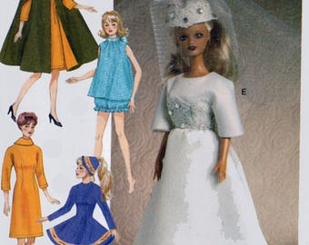 Retro-Style Clothes and Accessories Sewing Pattern for 11 1/2 inch Doll McCalls Crafts 7267 Barbie Doll Wardrobe UNCUT Bridal Gown PJs Cape