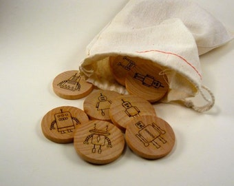 Memory Matching Game - Robots - Kids Wooden Toy for Boys and Girls