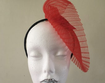 Red Fortuny and Feather fascinator