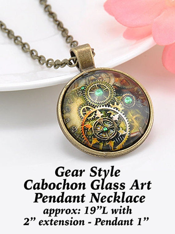 Glass PENDANT, Steampunk Cabochon, Bronze  ** CLEARANCE **