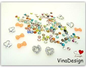 3D Nail Art Diamond Heart Nail Art Resin Bows Nail Art Assorted 2-4mm Rhinestone Metal Heart Nail Art Plastic Nail Art Charm Storage Case
