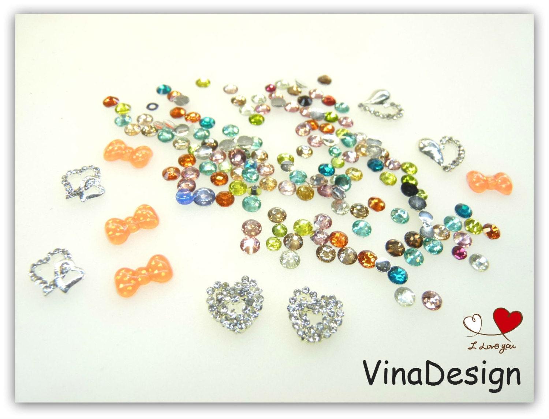 3d nail art diamond heart nail art resin bows nail art