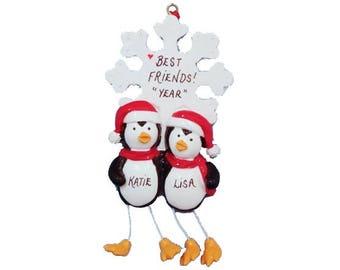 Best Friends Personalized Christmas Ornament - Friendship Personalized Christmas Ornament - 2 Penguins Best Friends
