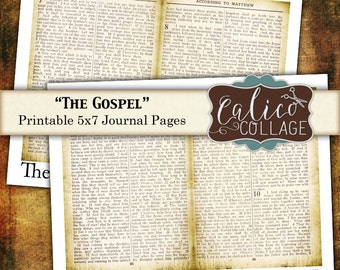 The Gospel, Journal Pages,Printable Ephemera, Bible Pages, Digital Download, Vintage Bible Pages, Digital Collage, Collage Sheet