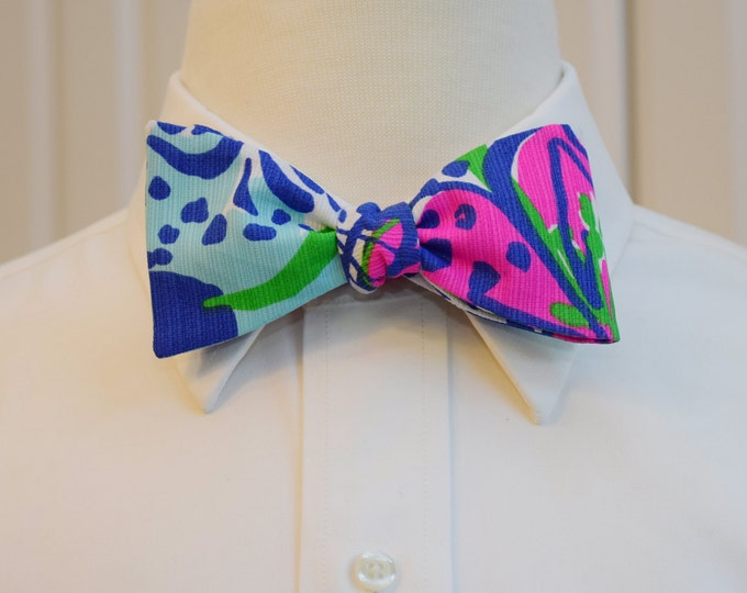 Men's Bow Tie, In The Garden blues/hot pink/green Lilly print,  wedding bow tie, groom/groomsmen bow tie, tuxedo accessory, prom bow tie