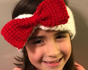Tunisian Crochet Ear Warmers - Headband  with a bow (aka Hello Kitty style) or without  the bow.  Various colors.