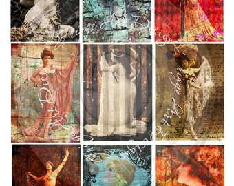 Steampunk Grunge Women Collage Sheet Digital Instant Download for ACEO, ATC, Notecards, Altered Tags