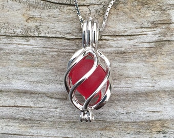 Red Sea Glass Sterling Silver Swirl Locket by Wave of LIfe