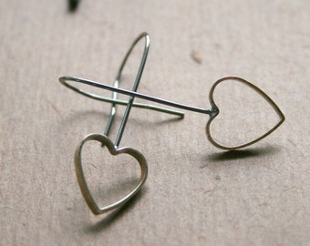 Heart Brass & Sterling Hoop Earrings -Oxidized