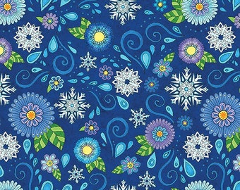 Arctic Wonderland~Flowers And Snowflakes Cotton Fabric By Wilmington Prints