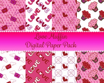 Cupcake Digital Paper - Commercial Use Digital Paper - Love Muffin Digital Paper - Instant Download - Scrapbook Paper - Digital Paper