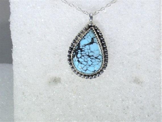 Genuine spiderweb Kingman mine turqiuoise handmade sterling silver pendant necklace - Arizona turquoise - natural turquoise