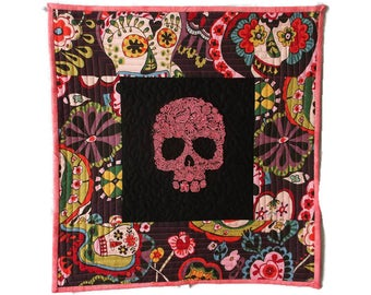 Sugar Skull Quilt, Mexican Embroidery Quilt, Day of the Dead Decor, Mexican Folk Art, Sugar Skull Decor, Mexican Decor, Sugar Skull Fabric