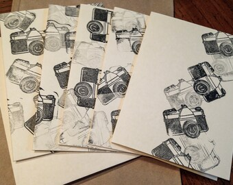 "Hand stamped vintage SLR camera blank note cards 4x5"" ivory folded with envelope with black ink Set of 10"