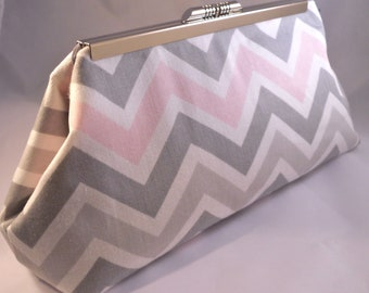 Pink and Grey Chevron Clutch