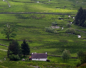 My Scottish Cottage Fine Art Photography Scotland Landscape white cottage Romantic dreamy Outlander Country living rural life valley green