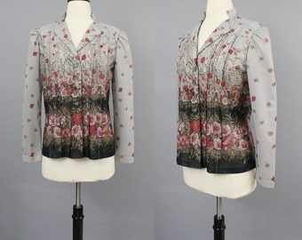 vintage 70s Falling Flowers and Vine Print Gray Long Sleeve Lightweight Secretary Blouse / 1970s Pintucked Button Down Top / Small