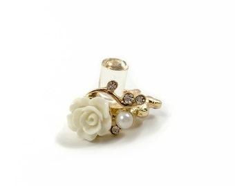 1/2 7/16 00g 0g 2g 4g 6g 8g 10g 12g 1 PAIR 9 Colors Gold Filigree Rose Dangle Plugs Gauges Tunnels Rhinestone Wedding Bridal Bridesmaid