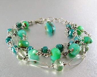 15% Off Three Strand Wire Wrapped Bracelet With Peruvian Blue Opal, Green Amethyst, and Blue Moonstone