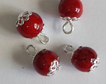 5 pendants 8mm red glass beads