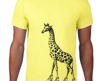 CLEARANCE, Roller Skating Giraffe Tshirt, Hipster Animal Tee, Funny T Shirt, Skates,  sm-5xl plus size