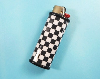Black and White Checkered Bic Lighter Case