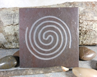 SPIRAL LABYRINTH STONE - In With the New, Out With the Old - Finger Maze Meditation Tile - Hand Carved Slate