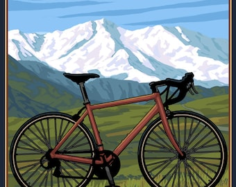 Whitefish, Montana - Ride the Trails - Lantern Press Artwork (Art Print - Multiple Sizes Available)