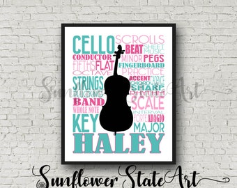 Personalized Cello Poster Typography, Cello Player Gift, Cello Art, Cello Gift, Custom Cello, Gift for Cello Player, School Band Gift