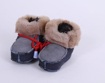 Leather Baby Shoes, Blue/Gray Soft Leather Sole Booties, Baby Slippers, Toddler custom shoes, Handmade Newborn boots UK 4 Sheepskin
