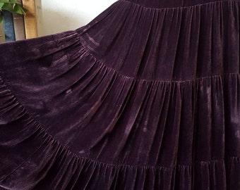 Native American Navajo Style Santa Fe Style Southwest Style Cowgirl Purple Velvet Broom Stick Skirt Size M/L