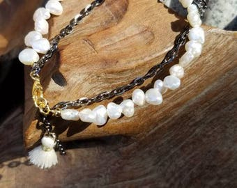 Natural Pearl double strand bracelet