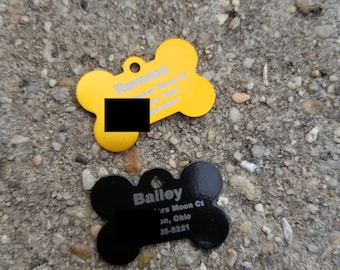 Personalized Engraved Dog Bone Pet Tag, Small Dog ID Tag, Cat ID Tag, Collar Pet Tags, Pet ID Tags
