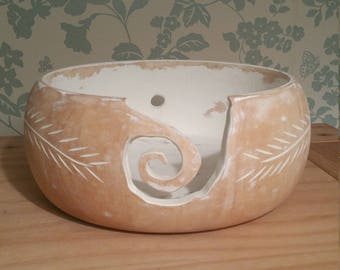 Chalk painted wooden yarn bowl