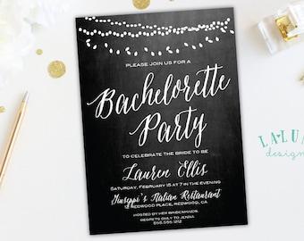 Bachelorette Party Invitation, Chalkboard Bachelorette Invitation, Hens Party Invitation, Vintage Lights Invitation