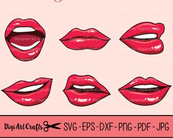 Hot Lip Gloss Set SVG files / Mouth clip art / Pink Lip gloss clipart / eps lips / SVG Mouth / dxf / Pretty Clipart / Comic book mouths